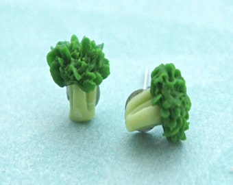 broccoli earrings - miniature food jewelry, vegetable earrings