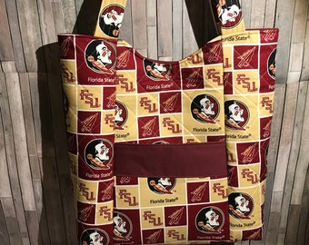 Football quilted purse made with Florida State Seminoles fabric