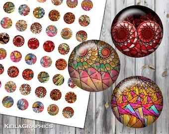 Digital Collage Sheet - Instant Download - Circle Size 30mm + 25mm + 20mm + 18mm Printable Images - Fractal Spirals