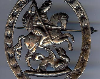 VINTAGE sterling silver SAINT GEORGE & the dragon pin brooch