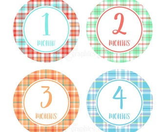 Monthly Baby Stickers Baby Girl or Boy Growth Decals Infant Month Stickers Baby Shirt Stickers Baby Shower Gift Bright Colors Plaid Decals