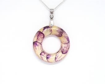 Real Flower Resin Pendant, Purple Flower Jewelry, Real flowers Necklace, Pressed Flowers, Birth Month flower January, Birthday gift