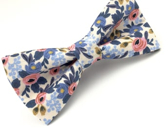 Mens Blue and Pink Floral Bowtie, Adjustable Bow Tie, Pre Tied Bow Tie, Wedding Bow Tie, Floral Bow Tie