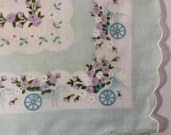ON SALE Hankie Flower Carts Pink Blue Mid Century Retro