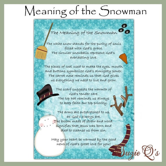 Meaning Of The Snowman 5x7 Card Front Digital Printable