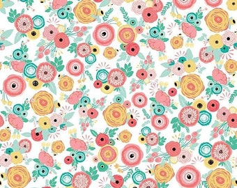 ON SALE Riley Blake Designs Just Sayin' by My Mind's Eye Floral White