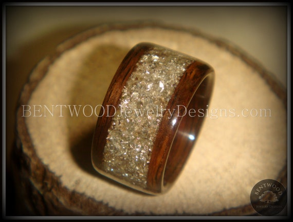 Bentwood Ring Rosewood Wood Ring Silver Glass Inlay durable