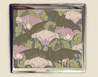 Art Nouveau Bat Poppies Cigarette Case Business Card ID Holder Wallet Floral Flowers Flower Bats Poppy