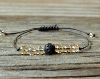 Diffuser Bracelet, Citrine Bracelet, Beaded Diffuser, Essential Oils, Oil Diffuser, Yoga Bracelet, Meditation Bracelet, Healing Bracelet