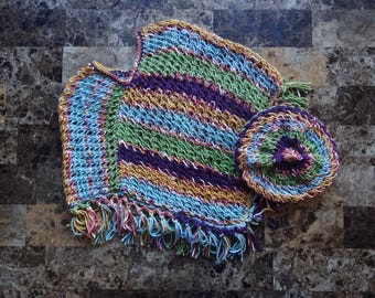 Handmade Knitted Poncho with matching hat for toddler child