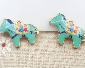 Enamel Horse Charms - Set of 2 - 15mm x 22mm - Jewelry Supply