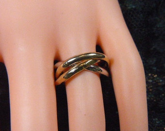 """Vintage Gold and Silver """"Puzzle"""" Ring -- Size 6.75 - R-333"""