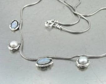 Duerry's Handmade Art 925 Sterling Silver Pearl Opalit Necklace (as 5549)