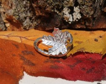 Maple Leaf Sterling Silver Adjustable Ring