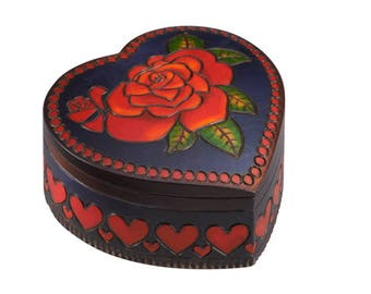 Red Rose Heart Shaped Wooden Jewelry Box Hand Crafted