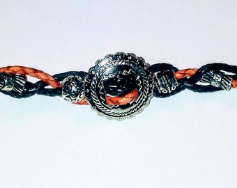 Leather and silver bracelet,tan and brown leather bracelet,concho leather bracelet