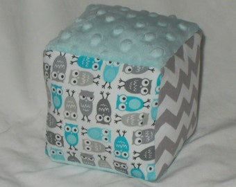 Blue and Gray Mini Owls and Minky Fabric Block Rattle