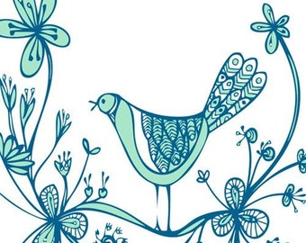 Greeting Card - Blue Bird Flower