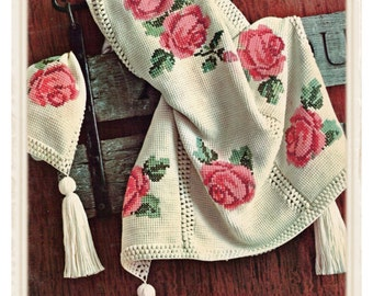 Instant Download PDF CROCHET PATTERN  to make a Rose Bloom Cross Stitch Embroidered Afghan Blanket Sofa Throw Country Cottage