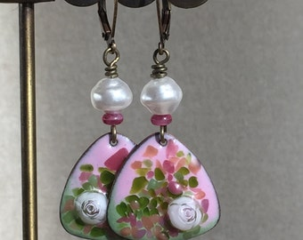 Pink and White Pearl Enamel Earrings