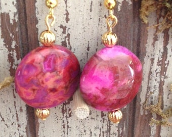 Fuchsia Crazy Lace Agate (Dyed) Earrings