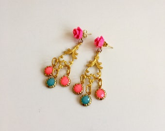 Carousel Gypsy Festival Statement Earrings in Fuchsia Pink