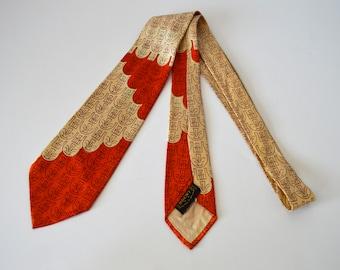 Vintage 1940s/1950s Orange and Tan Tie by Brent