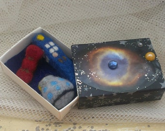 Out of This World Needle Felt Miniatures in a Matchbox. Matchbox Toy, Felt Blue Police Box, Dalek Robot, and Bow Tie
