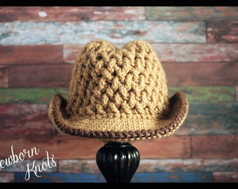 CROCHET PATTERN Baby Cowboy Hat - Weaving Baby Cowboy Hat/ Pattern number 53. With 5 sizes up to 3 years - Instant PDF Download