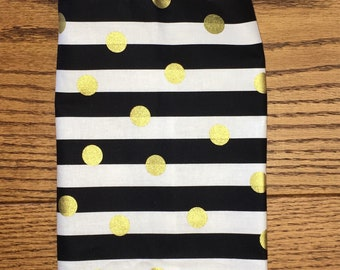 Black & White Stripe with Gold Metallic Polka Dots Grocery Bag Holder- Plastic Bag Holder-