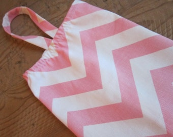 Fabric Plastic Grocery Bag Holder - Modern Chevron - Pretty Pink