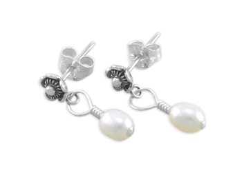 Flower Earrings with Real Freshwater Pearl Dangle, Sterling Silver, childs jewelry, ball posts, post earring, flower girls gifts, CASSANDRA