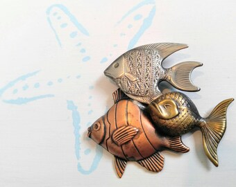 SALE AWESOME and Rare School of Fish Vintage Brooch/Pin-Copper, Brass, Silver-Koi, Aquarium, Salt Water, 3-D, Ocean-All Orders 99c Shipping!