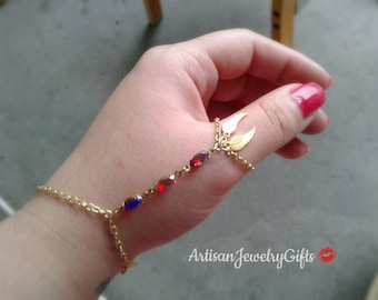 Angel Wings Thumb Hand Chain Thumb Slave Bracelet Boho Hand Chain Red Antique Gems Slave Bracelet Gold Feather Slave Bracelet Ring Harness
