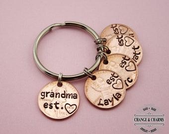 Grandma Est. Penny Keychain, Grandchildren, Grandma Keychain, Penny Keychain, Custom Gift, Personalized, Grandchild, Gift for Grandma, Gift