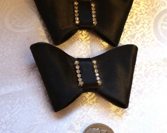 1950s Black Satin Rhinestone Bowtie Shoe Clips Pair (No Shoes)