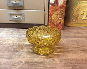 Vintage Amber Glass bowl dish pedestal