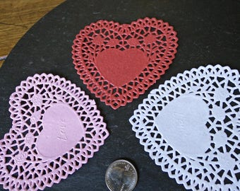 """SALE 12+ floral heart doilies 4"""" paper lace doilies wedding anniversary birthday party table confetti decorations kids craft Father's day"""