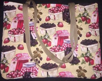 Blackberry and Strawberry Jam Cotton Fabric Bag
