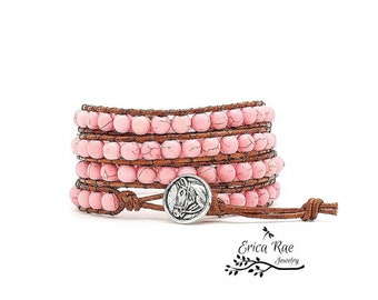 Leather wrap bracelet, pink turquoise bracelet, horse bracelet, western bracelet, beaded wrap bracelet, gemstone bracelet, boho leather wrap