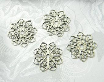 Antiqued Silver Filigree, Flower Filigree, Round Brass Filigree, Filigree Connector, 20mm - 4pcs. (sl105)