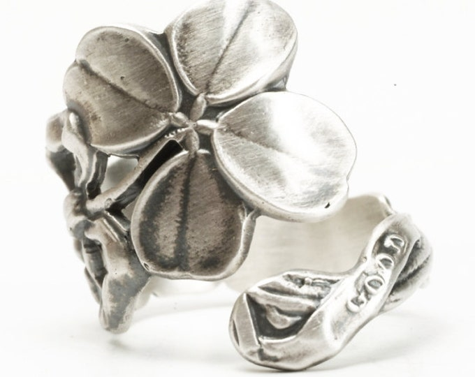 Four Leaf Clover Ring, Spoon Ring Sterling Silver, Lucky Ring, Irish Shamrock, 4 Leaf Clover Ring Irish Jewelry, Custom Ring Lucky Gift, 404