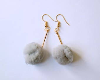 TheMinoan/Modern minimalist gray fuzzy nylon copper hardware hoop earrings