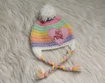 Baby Girl Valentines Day Crochet Hat Infant Photography Prop Conversation Heart Be Mine Pom Pom Striped Rainbow