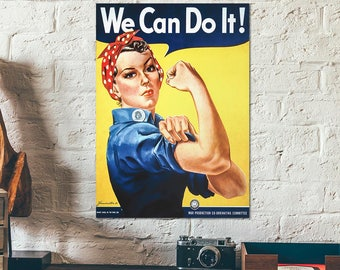 """A Replica of WWII propaganda poster """"We Can Do It/Rosie the Riveter"""" - world war 2 colour poster - wall art poster - old war poster"""