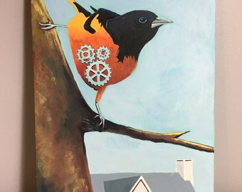 Industrial Oriole - acrylic painting, Baltimore Oriole, gears