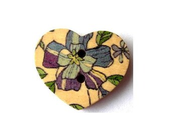 15 Wood heart shape buttons, flowers ornament, for button jewelry, scrapbooking, crafts