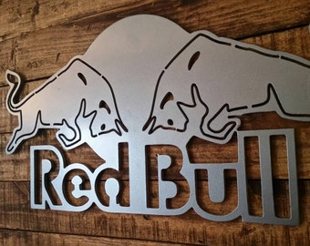 Red bull Energy Drink Sign Man Cave Art MDF Board Cut Out Logo With Faux Metal Finish On Rustic Pallet Wood