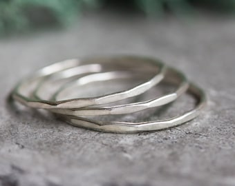 Skinny - sterling silver stacking ring, stackable ring, hammered ring, simple band, minimalist