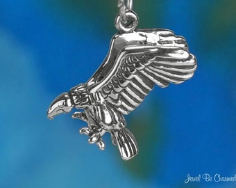 Sterling Silver Vulture Charm Bird of Prey Scavenger 3D Solid .925